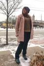 Dark-green-fluevog-shoes-light-brown-target-sweater-teal-vintage-accessories