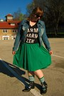 Black-fluevog-boots-blue-joujou-jacket-green-sockdreams-socks-green-skirt