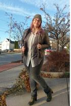 olive green Fluevog shoes - bronze Kenzie jacket