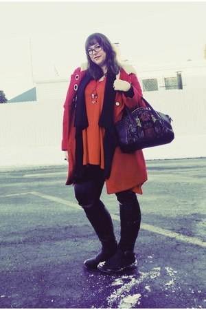 red Kimchi Blue coat - black kensie bag - red modcloth top