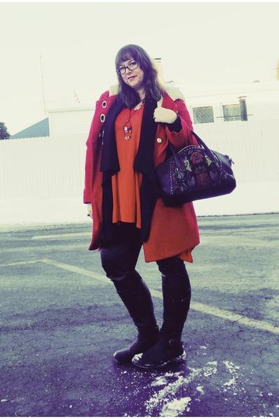 red Kimchi Blue coat - black kensie bag - red modcloth top