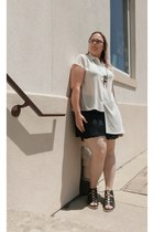 cream Urban Outfitters blouse - dark gray Fabletics skirt