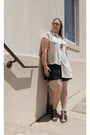 Cream-urban-outfitters-blouse-dark-gray-fabletics-skirt