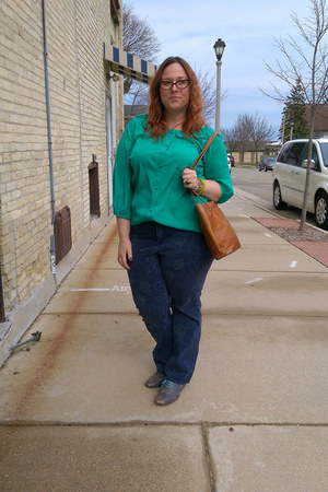 green modcloth blouse - periwinkle Fluevog shoes