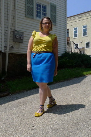 yellow kohls top - yellow Neway flats - blue second-hand skirt