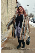 brown faux fur asos coat - silver Target dress - dark green Sourpuss purse