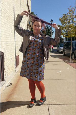 blue vintage dress - carrot orange fishnet We Love Colors tights
