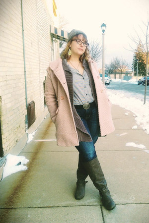 off white thrifted shirt - pink Jessica Simpson coat