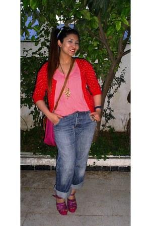 denim St Oliver jeans - polka dots 365Sunshine cardigan - coral H&M blouse