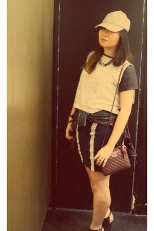 Mimco bag - Nasty Gal jacket - Sportsgirl skirt - Mimco heels - bargain t-shirt