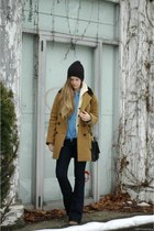 black brixton hat - navy Urban Outfitters jeans - tawny JCrew jacket