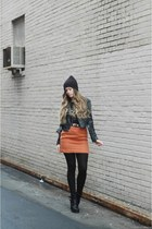 carrot orange thrifted skirt - black modcloth boots - black modcloth jacket