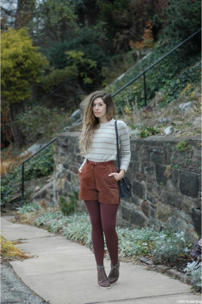 gold thrifted bracelet - brown Matiko boots - tan madewell sweater