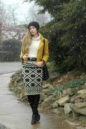 black modcloth skirt - black Jeffrey Campbell boots - mustard modcloth jacket