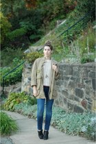 navy madewell jeans - black Jeffrey Campbell boots - tan thrifted Barbour jacket