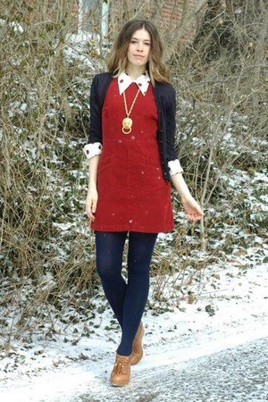 navy American Apparel tights - ivory vintage top - navy JCrew cardigan