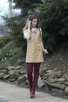 neutral Dear Creatures blouse - camel vintage dress - off white Gentle Fawn coat