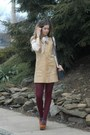 Camel-vintage-dress-off-white-gentle-fawn-coat-crimson-free-people-tights