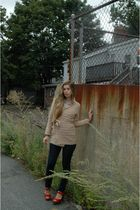 brown Thrift Store sweater - blue Urban Outfitters jeans - red Jeffrey Campbell