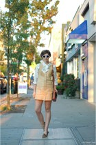 camel leather vintage dress - army green vintage bag - cream Lulus sunglasses