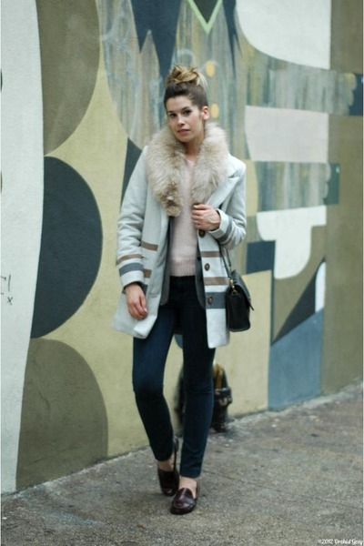 gray thrifted blazer - tan Gentle Fawn coat - navy madewell jeans
