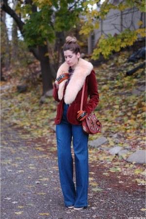 navy vintage jeans - crimson velvet thrifted vintage blazer