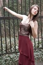 crimson dress - brown dress