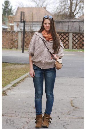 beige Mango sweater - brown Graceland boots - sky blue Zara jeans