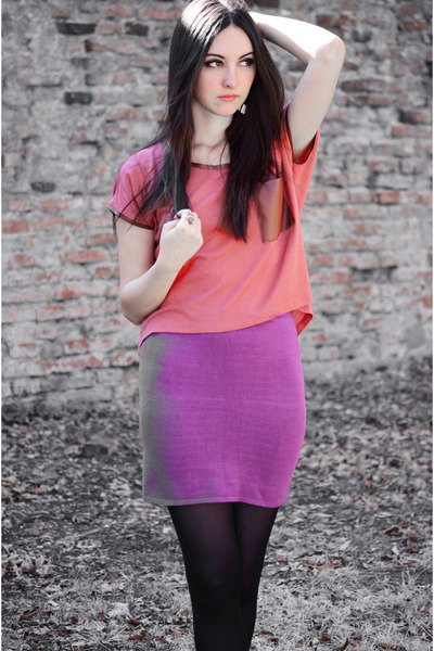 tile coloured pull&bear shirt - plum c&a tights - mini random brand skirt