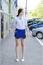 blue Zara shorts - Zara shirt - H&M bag - H&M wedges