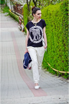 black H&M t-shirt - white H&M wedges