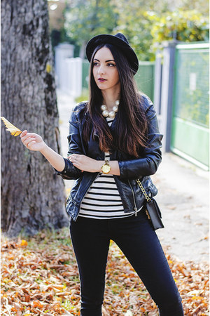 black denim Tally Weijl jeans - black H&M hat - black faux leather Zara jacket
