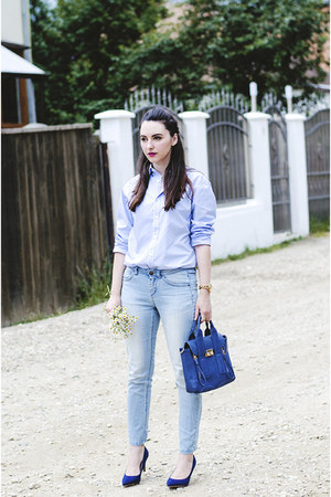 blue PERSUNMALL bag - Orsay jeans - light blue Zara shirt - blue Zara heels