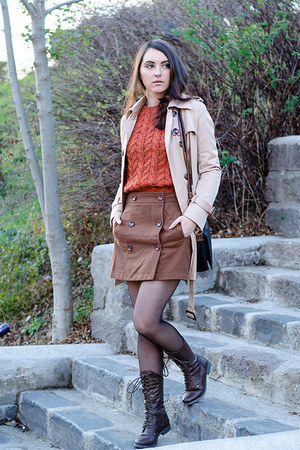 PERSUNMALL coat - H&M sweater - fishbone skirt