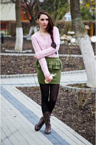 olive green fishbone skirt