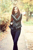 black faux leather Zara jacket - black Zara jeans - c&a scarf