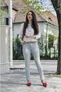 Ripped-stradivarius-jeans-white-white-cotton-h-m-shirt