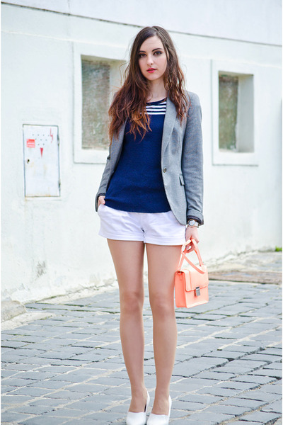 peach H&M bag - heather gray Zara blazer - white Terranova shorts