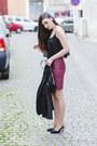 Black-h-m-bag-black-sheer-fishbone-top-brick-red-faux-leather-h-m-skirt