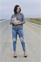 blue ripped Front Row Shop jeans - heather gray embellished Zara sweater