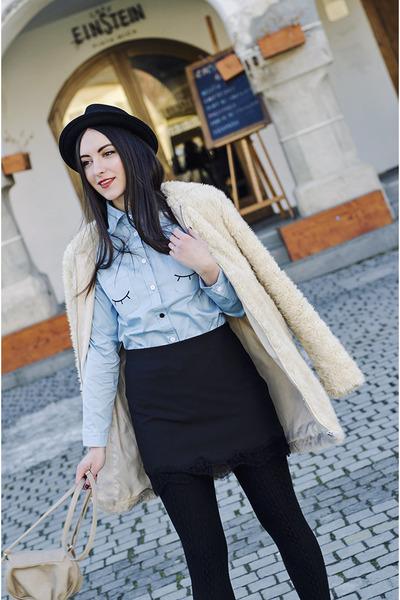black H&M hat - teddy coat Zara coat - light blue OASAP shirt