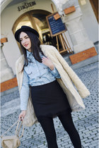 black H&M hat - teddy coat Zara coat - light blue OASAP shirt