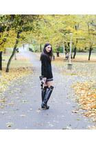 fishbone sweater - Zara boots - H&M bag - fishbone skirt
