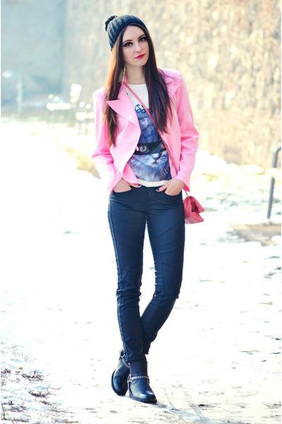black H&M boots - black Zara Trf jeans - pink Dorothy Perkins bag