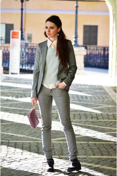 H&M boots - Mango jeans - heather gray Zara blazer
