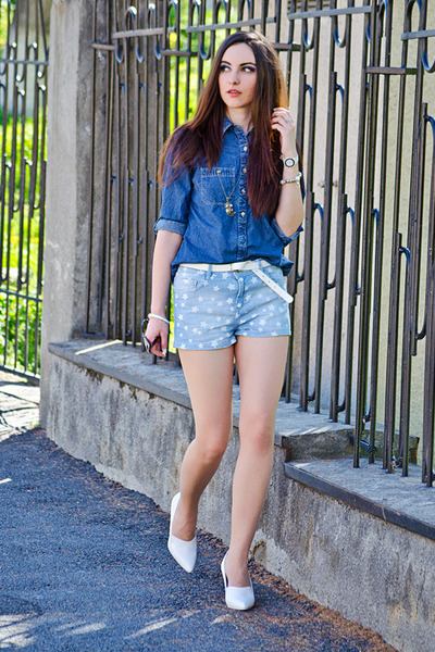 denim c&a shirt - denim pull&bear shorts - H&M wedges