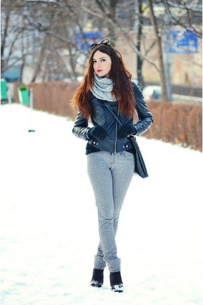silver Mango jeans - black leather Zara jacket - silver H&M scarf