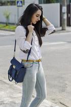 white white cotton H&M shirt - ripped Stradivarius jeans