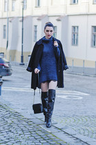 black over-the-knee Zara boots - navy H&M sweater - black H&M bag