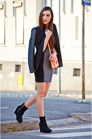 heather gray H&amp;M dress - black Zara blazer - coral H&amp;M bag